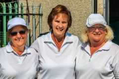 Jeanie Humm & Rose Farge finaliosts of Ladies Championship with marker Joan Emmins