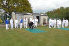 Special Guest Gary Baker bowls the first wood of the season
